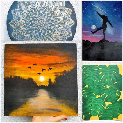 Obrazy Na Desce Ręcznie Malowane